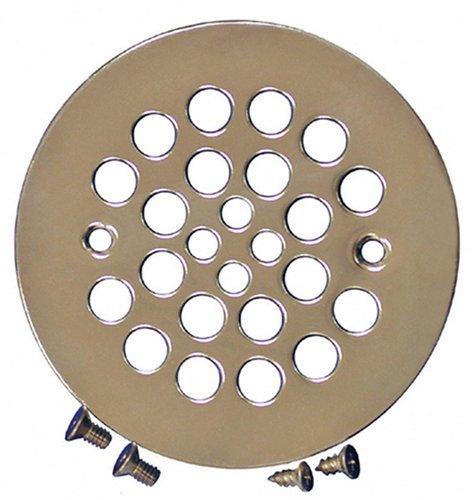 Polished Nickel Plumbest D41-10PN Strainer with Screws for Fiberglass Shower Stalls