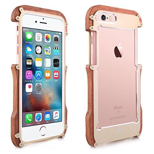 Alienwork Schutzhülle für iPhone 6 Plus/6s Plus Champagner-Gold Hülle Case Bumper Stoßfest modisch Holz gold AP6SP05-04