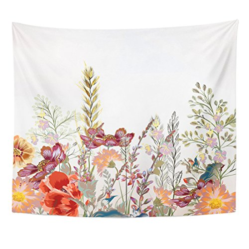 TOMPOP Tapestry Watercolor Pattern Floral Field Flowers in Vintage Pink Pastel Home Decor Wall Hanging for Living Room Bedroom Dorm 50x60 -