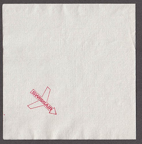 "Swissair airline paper napkin unused 4 3/4 x 4 5/8"" ca 1960s"