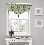 Traditions by Waverly Dressed up Damask Ascot Valance, Blue Jay
