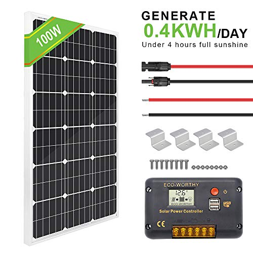 ECO-WORTHY 100 Watt Solar Panel Off-Grid RV Boat Kit – 100 Watt Solar Panel 20A LCD Display Charge Controller Solar Cable Z Brackets