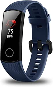 Honor Band 4 6-Axis Inertial Heart Rate Monitor Infrared Light Wear Detection Sensor Full Touch AMOLED Color Screen Home Button All-in-One Activity Tracker 5ATM Waterproof- (Blue)