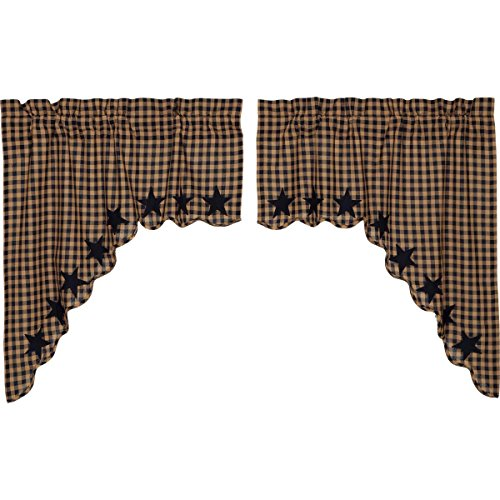 ountry Primitive Kitchen Window Curtains - Star Blue Scalloped Swag Pair, Navy (Classic Swag)