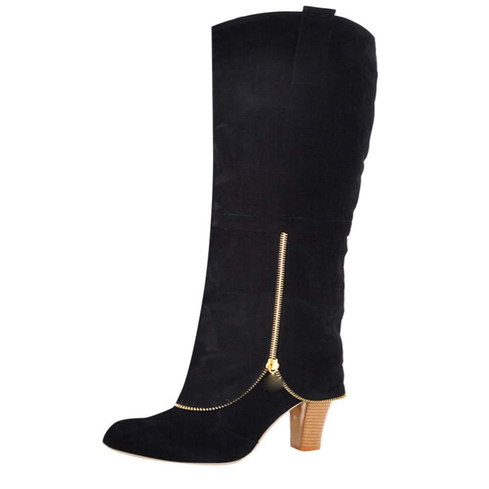 Moontang Stiefel damen damen damen Runde Kopf Schuhe Anti-Rutsch-Reißverschluss Kniehohe Square High Heels Stiefel (Farbe   Schwarz, Größe   4 UK) 97c4bb
