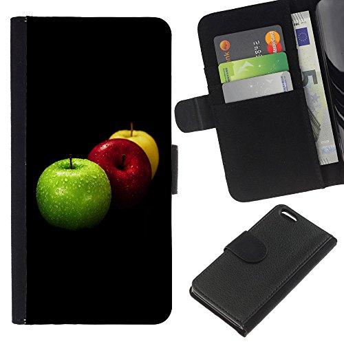 Lead-Star (Fruit Macro Apples Colors) Colorful Impression Holster Cuir Wallet Cover Housse Peau Cas Case Coque Pour Apple iPhone 5C