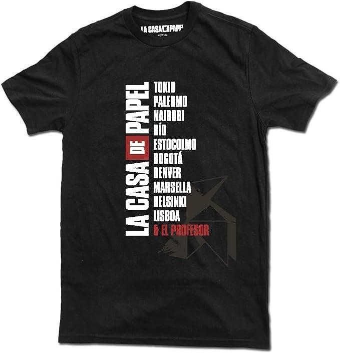 Grupo Erik Camiseta Oficial La Casa de Papel Nombres, Negra, (Talla XL) Unisex Adulto: Amazon.es: Ropa y accesorios