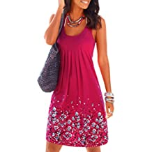 Akery Womens Summer Casual Sleeveless Mini Printed Vest Dresses