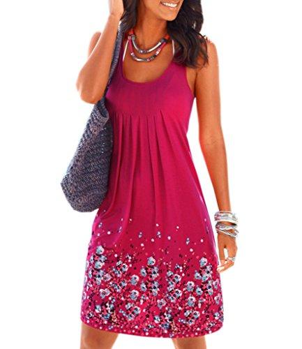 Akery Womens Summer Casual Sleeveless Mini Printed Vest Dresses,Rose,Medium
