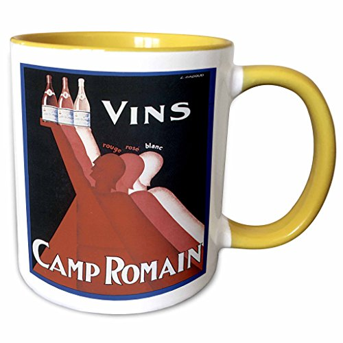 (3dRose BLN Vitage Wine, Beer and Spirits Advertising Posters - Vintage Vins Camp Ormain Rouge Rose Blanc Wine Advertising Poster - 15oz Two-Tone Yellow Mug (mug_129927_13))