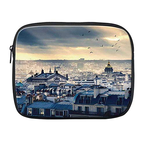 Paris Decor Compatible with Nice iPad Bag,Paris Cityscape Taken from Montmartre Rooftops Flying Bird Pigeons Foggy Sunrise for Office,One Size