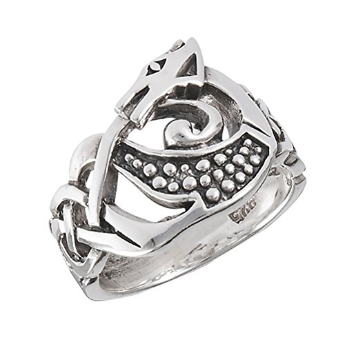 (Sterling Silver Celtic Knot DRAGON Ring Size 9(Sizes 4,5,6,7,8,9,10,11,12,13))