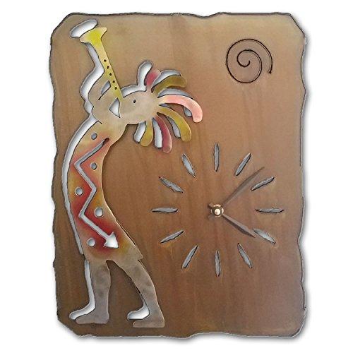 - Southwest Clock - Kokopelli Trumpet - 13-inch - Sunset Swirl