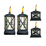 TIKI® Brand 65-Inch Square Beacon Metal Torch Black 2-pack and Petite Lantern Metal Table Torch Black 2-pack