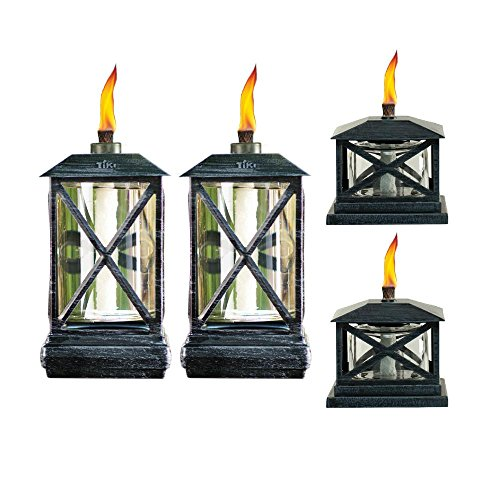 TIKI® Brand 65-Inch Square Beacon Metal Torch Black 2-pack and Petite Lantern Metal Table Torch Black (Classic Tiki Torches)