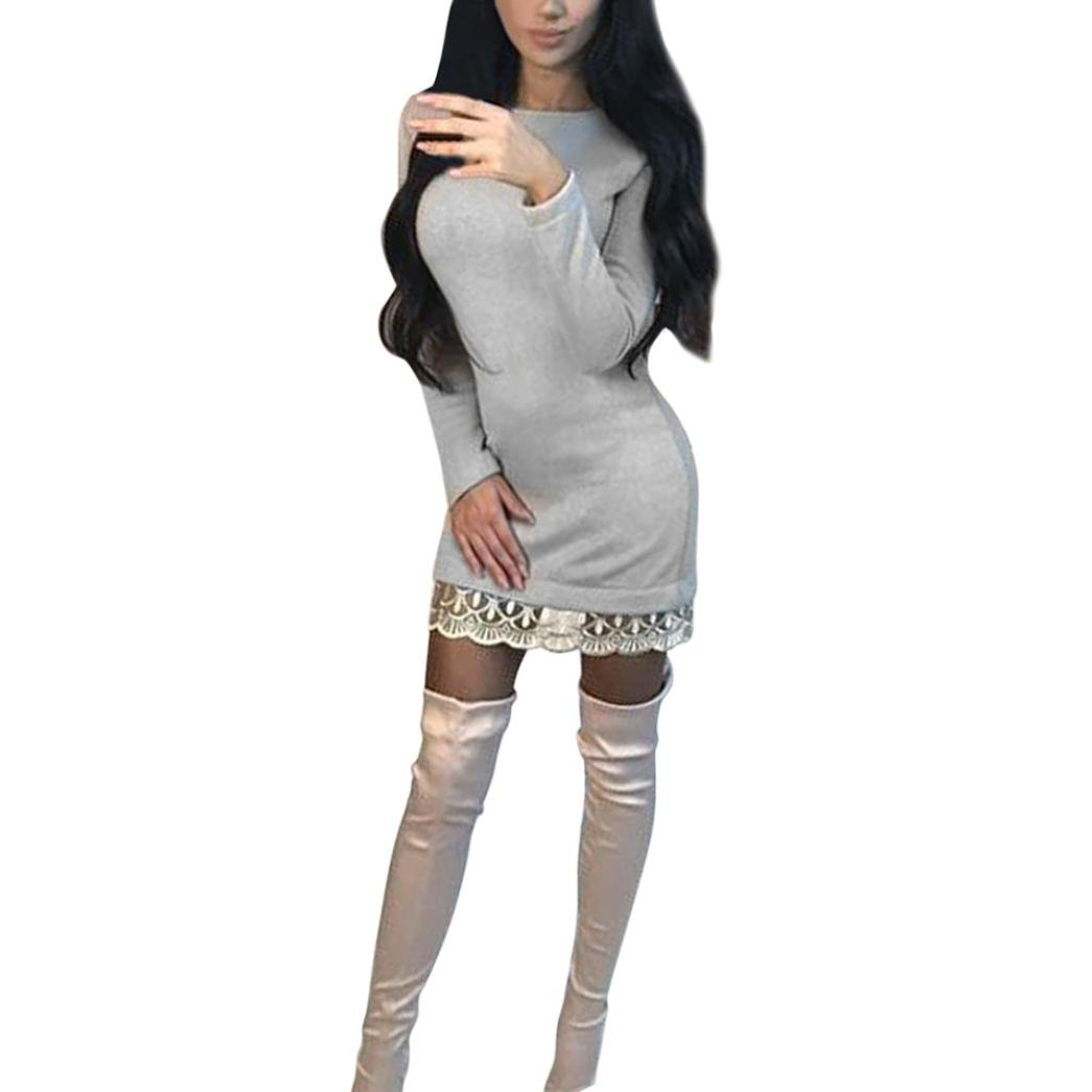 Snowfoller Women Autumn Slim Pencil Dress,Winter Casual O Neck Long Sleeve Lace Patchwork Evening Party Dress (XL, Beige)