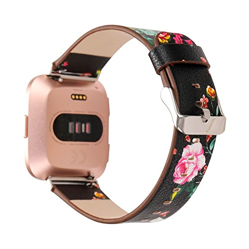 Juzzhou Smart Watch Band For Fitbit Versa Watchband Wriststrap Leather Motley Flower Bracelet Replacement Wrist Strap Wristband With Metal Adapter Adjustable Buckle Clasp For Woman Lady Girl Black by Juzzhou (Image #1)