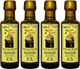 Papa Vince Olive Oil Extra Virgin Harvest 2016, Family Made, 100% Unblended First Cold Pressed, Single Sourced from Sicily, Italy, Unfiltered Unrefined Robust Rich in Antioxidants | 3 Fl Oz 4Pack