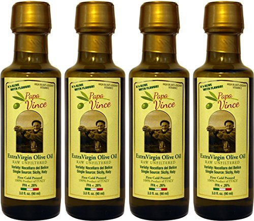 Papa Vince Olive Oil Extra Virgin, Family Made, 100% Unblended First Cold Pressed, Single Sourced from Sicily, Italy, Unfiltered Unrefined Robust Rich in Antioxidants | 3 Fl Oz 4Pack