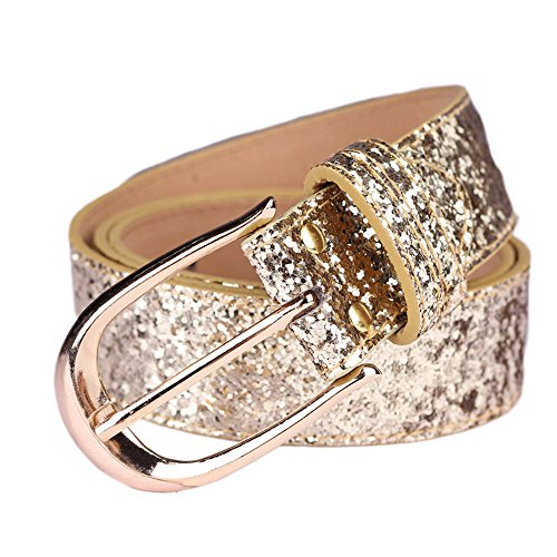 Gold Buckle Belt Bling (Sequin Studded Women Leather Belts for Jeans Waistband with Gold Buckle Corlink)