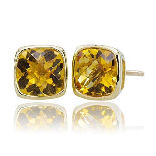 Magnificent Natural Citrine Gemstones 10K Gold 5.25 cttw Post Stud Earrings