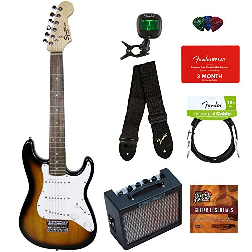 Squier by Fender Mini Strat Electric Guitar - Brown Sunburst Bundle with Amplifier, Instrument Cable, Tuner, Strap, Picks, Fender Play Online Lessons, and Austin Bazaar Instructional DVD