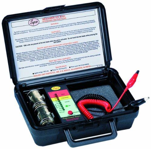 Supco M501 Electronic Megohmmeter with Service Case, 1000 Megohms Insulation Resistance, 1,000V Test Voltage
