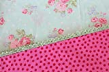 Standard Pillowcase With Crocheted Edge Floral and dots with aqua and pinks. Made with soft cotton fabrics. Great for a nursery, toddler's room or even a teenager. Handmade and ready to ship.