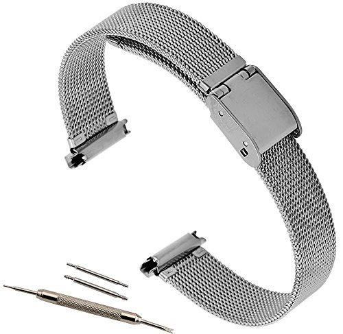 10-14mm T&C Adjustable Metal Mesh Solid Buckle Watch Band Silver Tone Ladies 14mm Ladies Watch Band