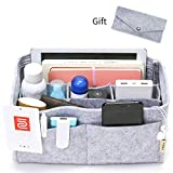 IN Felt Purse Organizer,Handbag Organizer Insert for Speedy 30 Purse Liner Multi-Pocket Bag Divider Shaper Grey (Medium: Fit LV Speedy 30, Grey)