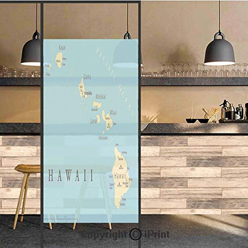 3D Decorative Privacy Window Films,Map of Hawaii Islands with Capital Honolulu Borders Important Cities and Volcanoes,No-Glue Self Static Cling Glass film for Home Bedroom Bathroom Kitchen Office 24x4 -