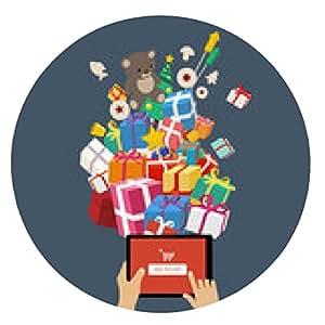 alfombrilla de ratón Pedido de regalos de Navidad - concepto de compras en línea - ronda - 20cm