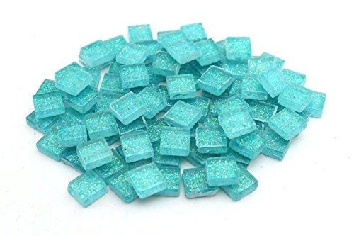 Milltown Merchants 4/10 Inch (20mm) Ice Aqua Blue Glitter Mosaic Tile, 3 Pound (48 oz) Bulk Mosaic Tiles