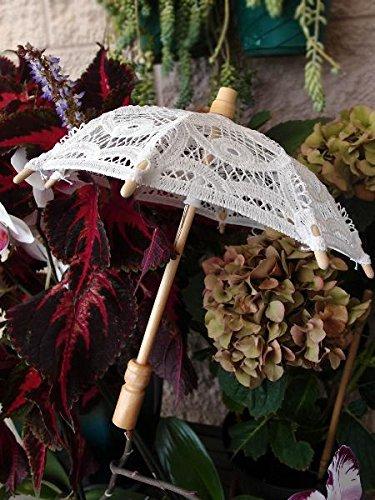 AK Trading White Battenburg Lace Parasol Umbrella for Weddings, Props, Bridal, Events & Decor ()