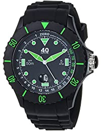 Men's Quartz Plastic and Silicone Casual Watch, Color:Black (Model: 40NINE01/GREEN20)