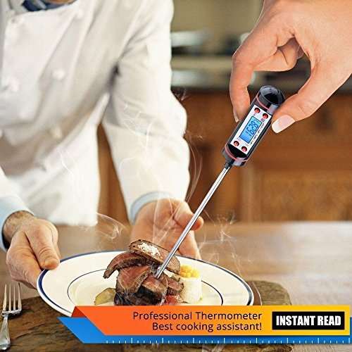 Aottop Latest Cooking, Digital Stainless Cooking Thermometer with Instant Read, Long Probe, LCD Screen, Anti-Corrosion, Best for Food, Meat, Grill, BBQ, Milk and Bath Water (Thermometer)