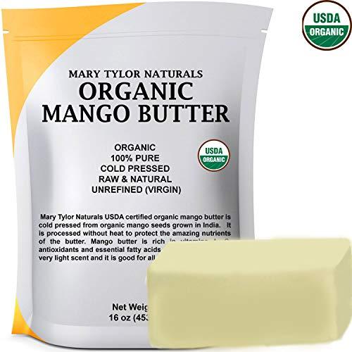 (Organic Mango Butter 1 lb USDA Certified Organic, Cold Pressed, Unrefined by Mary Tylor Naturals, Premium Grade Raw Pure Mango Butter, Amazing Skin Nourishment Great Moisturizer )