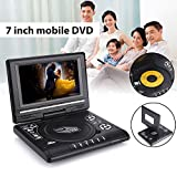 Hanbaili (US Plug)DVD Player, Portable 7'' HD DVD Player 180° Swivel Screen TV Player Support Game Radio U Disk with Car Headrest Mount Holder