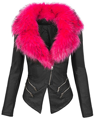 Donna xl Stagione Con Schwarz S Da Biker pink In Similpelle Collo Mezza Giacca Pelliccia 196 Uaw1q