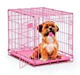 Pink Crate Dog Cage Pet Safe Travel Small Animal Kennel Puppy Cat Carrying 24''