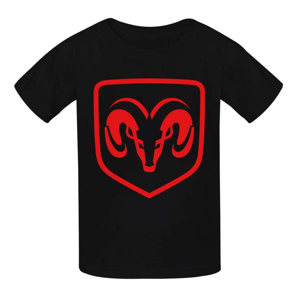 Boini Dodge Car Logo Basic Daily Wear Cotton Graphic T Shirts for Girls and Boys