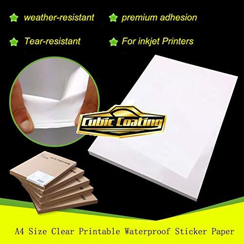 Papel adhesivo impermeable transparente tamaño A4 (21,6 x 27 ...