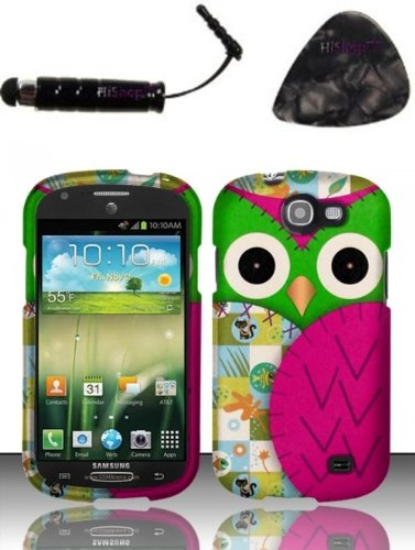 Guitar Faceplates (Samsung Galaxy Express i437 (AT&T) Rubberized Design Case - Owl Design Snap on Hard Shell Cover Protector Faceplate AND HiShop(TM) Stylus, Guitar Pick/Pry Tool)