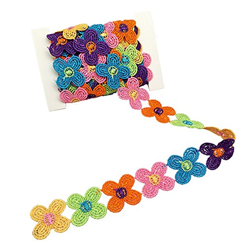 YEQIN 3 Yard Daisy Flower Sun Flower Decorating Lace and Trims for Sewing and Craft Projects (style4)