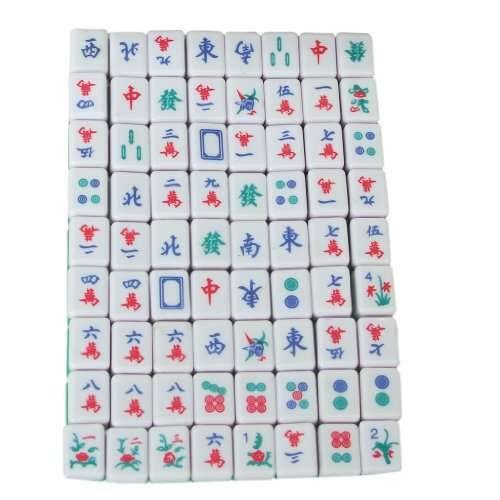 Chinese Mahjong (Mini 144 Mahjong Tile Set Travel Board Game Chinese Traditional Mahjong Games, Portable Size and Light-weight)