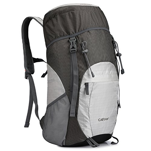 G4Free Large 40L Lightweight Water Resistant Travel Backpack/Foldable & Packable Hiking Daypack(Silver/Grey) ()