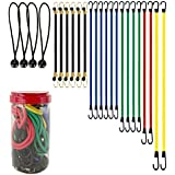 "Best Choice 24-Piece Premium Bungee Cord Assortment in Storage Jar - Includes 10"", 18"", 24"", 32"", 40"" Bungee Cords and 8"" Canopy/Tarp Ball Ties"