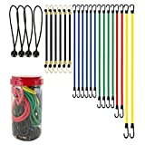Best Choice 24-Piece Premium Bungee Cord Assortment in Storage Jar - Includes 10', 18', 24', 32', 40' Bungee Cords and 8' Canopy/Tarp Ball Ties
