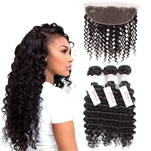 Grace Plus Hair Deep Curly Frontal with Bundles Brazilian Hair 3 Bundles Lace Frontal Deep Wave Free Part 7A Virgin Hair Bundles with Closure Lace Front (18 20 22+14)