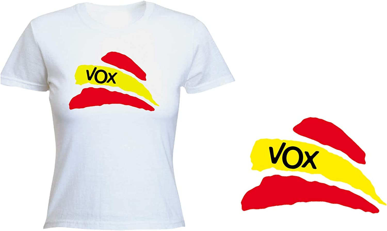 MERCHANDMANIA Camiseta Mujer Partido VOX Bandera ESPAÑOLA Tshirt ...